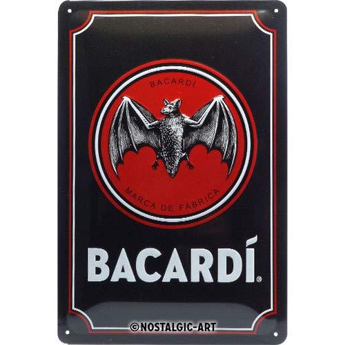Nostalgic-Art Metalen Retro Bord, Bacardi – Logo Black – Geschenkidee voor rumliefhebbers, van metaal, Vintage ontwerp voor decoratie, 20 x 30 cm