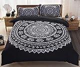 Set di biancheria da letto matrimoniale con motivo mandala, con elefante indiano, stile orientale etnico esotico