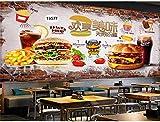 SKTYEE Papel pintado mural personalizado 3D ed Brick Wall Delicious Burger Comida rápida Restaurante Herramientas Fondo Decoración de pared Papeles pintados, 350x245 cm (137,8 por 96,5 pulgadas)