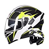 WEW Casco Modular de Motocicleta · Casco Integral de Moto Textura de Fibra de Carbono Amarilla y Blanca Unisex 4 Estaciones Cascos de Viajero para Adultos con Doble Lente,59~60cm XL