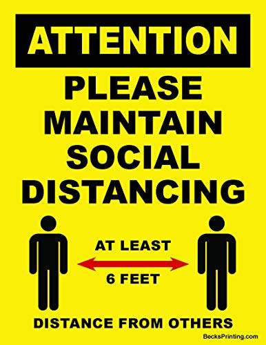 Attention Please Maintain Social Distancing 12' X 16' Lawn Sign on Corrugated Plastic - Double Sided - 2 Pack with H Stakes