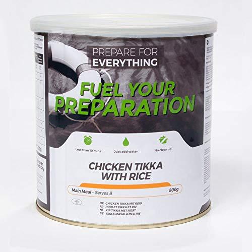Fuel Your Preparation Würfel-Hähnchenbrust mit Reis in einer würzigen Tikka-Curry-Sauce. Gefriergetrocknet. 25-Jahres-Regal