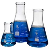 Glass Erlenmeyer Flask Set - 3 Sizes - 50, 150 and 250ml, Karter Scientific...