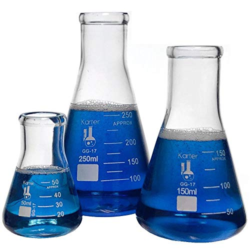 3.3 Borosilicate Glass 1000ml Narrow Mouth Erlenmeyer Flask Single Karter Scientific 213G22