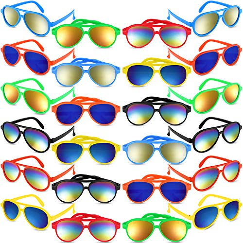 Kids Sunglasses Party Favors, 24 Pack Aviator Sunglasses in Bulk for Kids,Boys and Girls - Perfect Gift for Birthday Party or Graduation Party Supplies, Goody Bag Favors, Beach Pool Party Favors