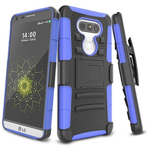 LG G5 Case,TILL [Knight Armor] Heavy Duty Full-Body Rugged Holster Resilient Armor Case [Belt Swivel Clip][Kickstand] Combo Cover Shell for LG G5 H820 H830 VS987 LS992 US992 [Blue]