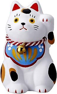 開運 縁起物 白猫 猫の置物 岐阜 美濃の焼き物 福猫 鈴/民芸招猫・白・小/お座り猫 三毛猫 民芸品 招き猫 左手 左足 白い招き猫