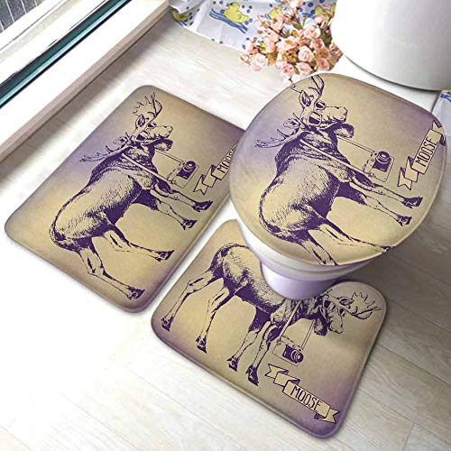 Moose Bathmat Toilet Mat Set