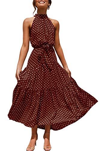 Zilcremo Sommerkleider Damen Böhmisch Lange Kleid Strandkleid Halfter Blumenkleid Polka Punkt Maxikleider mit Gürtel Kaffee M