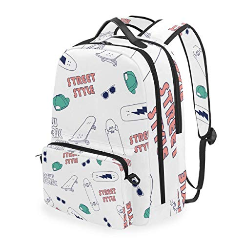 hangong New York Skateboarding Elements Seamless Pattern,School Backpack with Removable Pencil Case, 2 in 1 Travel Daypack Fits 15 Inch Laptop for Girls or Boys