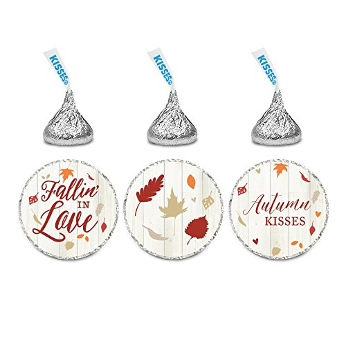 Andaz Press Fallin' in Love Autumn Fall Leaves Wedding Party Collection, Chocolate Drop Label Stickers Trio, 216-Pack, Fits Hershey's Kisses Party Favors