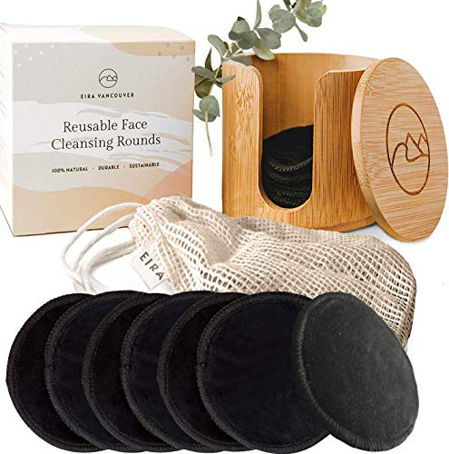 Reusable Makeup Remover Pads | With Washable Laundry Bag | Zero Waste | Soft Reusable Face Pads | Cotton Rounds | Eco-Friendly (12 Pads + Bamboo Holder + Laundry Bag)
