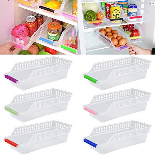 Kühlschrank Organizer, JRing Kühlschrankbox 6 Stück Kühlschrank Container Aufbewahrungsbox Schubladen Pantry Lagerung Box für Gefrierschrank, Küche, Arbeitsplatten, Schränke (Zufällige Farbe)