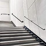 Pasamanos de tubería de Agua Kit de escaleras de Hierro Forjado Pasamanos Negro 1 pie - 20 pies Pasillo Interior Baño Fácil instalación
