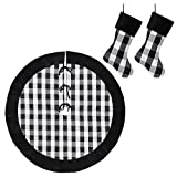 New Traditions Simplify Your Holiday Black and White Buffalo Check Plaid with Velour Cuff Christmas Decor (Stockings & Christmas Tree Skirt Bundle)