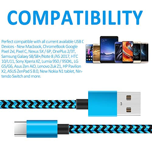 XIAE USB C Kabel, [5 Stück 2M] Nylon USB Typ C Handy Datenkabel Fast Charge Schnellladekabel für Samsung Galaxy S10/S9/S8+, Huawei P30/P20, Sony Xperia XZ, Google Pixel, LG, OnePlus…