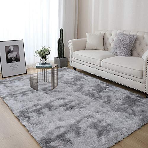 AMZERO Alfombra de Salón Alfombras en IKEA Alfombra Vinílica Dormitorio Cabecera Alfombras para Dormitorio, Comedor, Pasillo y habitación Infantil, Pelo Largo, Gris Claro 100x200cm