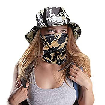 2 Pieces Fishing Bonnie Hats Camo Hats Waterproof Hat with Wide Brim 2 Pieces Face Neck Gaiters Sun Protection Safari Cap for Hiking Camping Traveling Gardening  Gray White Camouflage