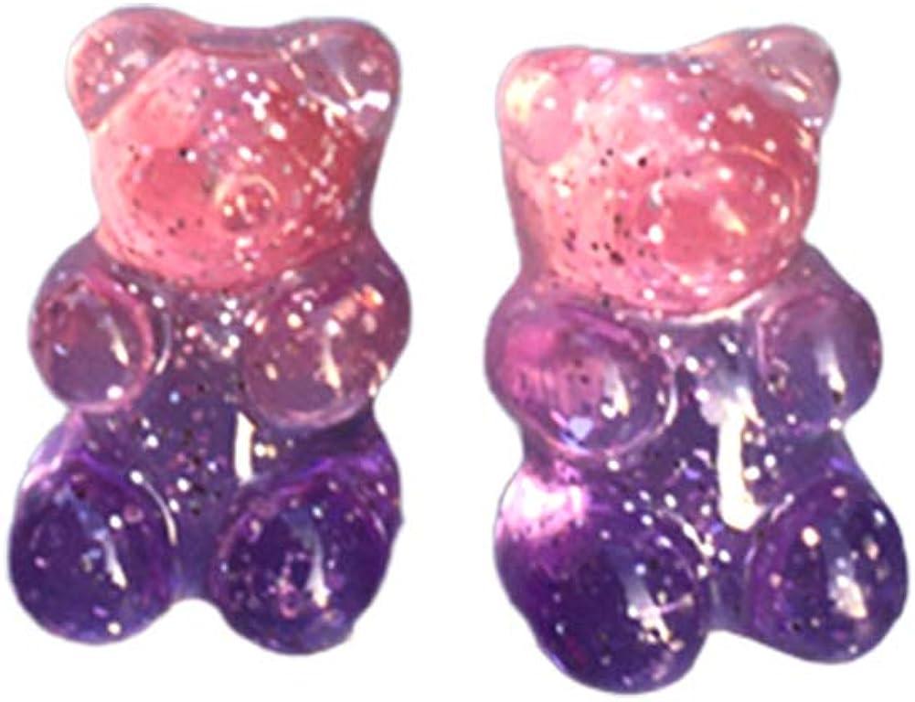 Gsdviyh36 Women Candy Color Cartoon Gummy Bear Ear Stud Earrings, Ideal Valentines Costume Jewelry for Women Girls