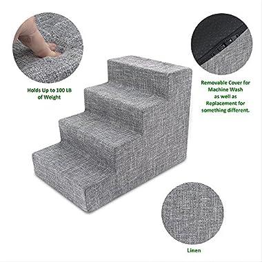Best Pet Supplies Foam Pet Stairs 4-Step - Gray Linen, Medium (15 x 19 x 24 inches)
