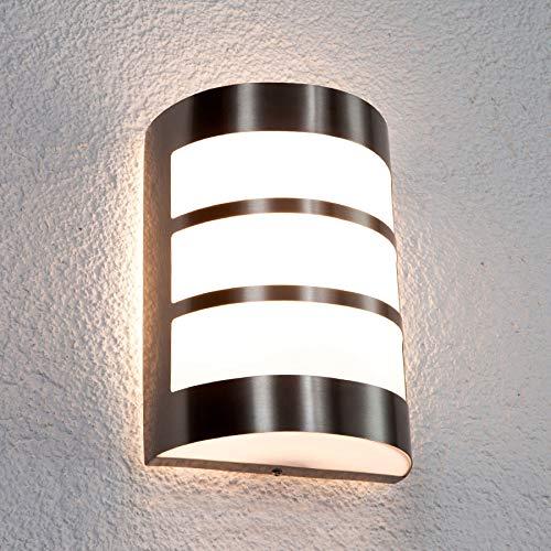 Lindby Edelstahl Wandlampe aussen | Wandleuchte außen IP44 | Außenbeleuchtung Wand, Hof, Garten, Terrasse, Balkon | Aussenwandleuchte