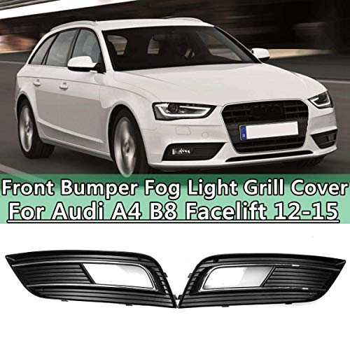 Pair Left & Right Front Bumper Fog Light Grill roosters Cover for Audi A4 B8 Facelift 2012 2013 2014 2015 mat zwart met chromen (Color : PAIR)