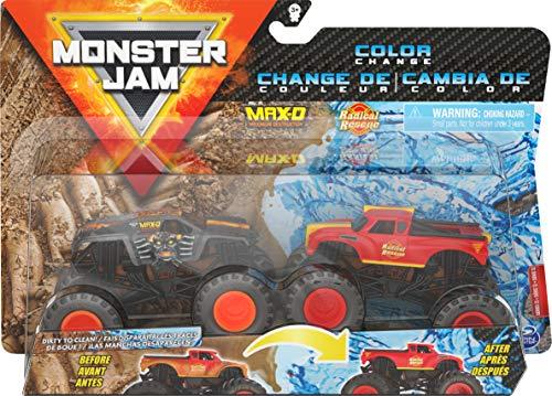 Monster Jam 6060878 Oficial MAX-D contra Radical Rescue Camiones Monstruos fundidos a presión, Escala 1:64