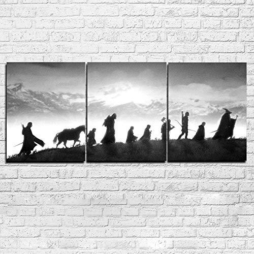 XuFan Cuadros modulares de Lienzo Arte de la Pared Decoración de la Sala Impresiones en HD Pinturas de El señor de los Anillos Carteles en Blanco y Negro 30cm x40cm x3p Sin Marco