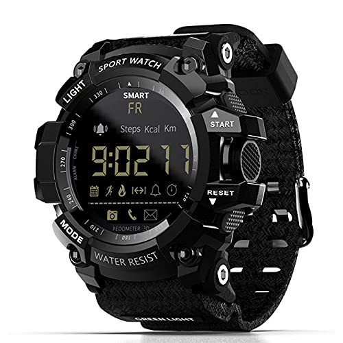 Smart Watch,Zwbfu MK16 Smart Watch Orologio militare IP67   5ATM Impermeabile EL Sport Luminoso BT Smart Watch Pedometro Attività Fitness Tracker Sveglia Telecamera remota per Android iOS (Black)