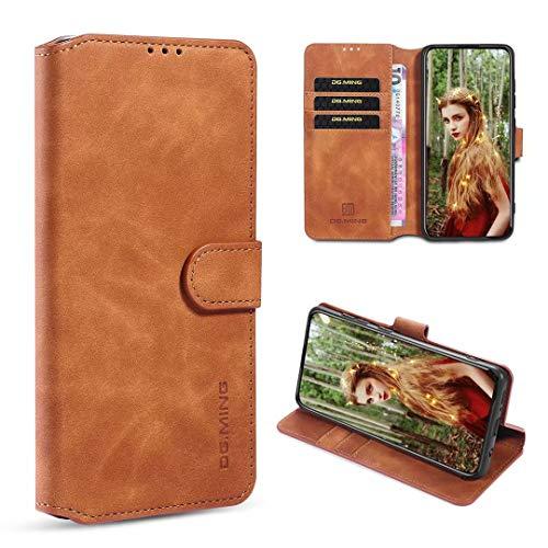 xinyunew Hülle LG K42 Hülle, 360 Grad Handyhülle + Panzerglas Premium Handy Schutzhülle Leder Wallet Tasche Flip Brieftasche Etui Schale (Braun)