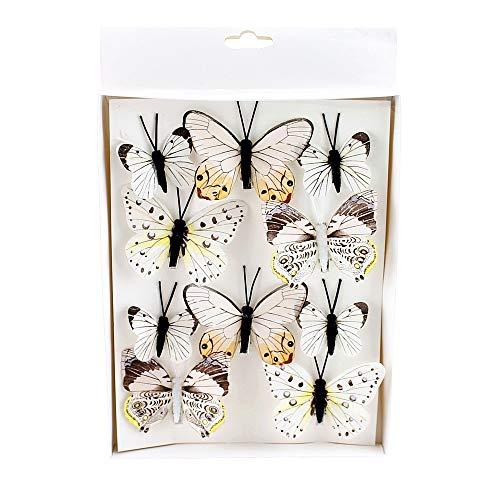 TGG 10 St. Schmetterlinge Mix mit Clip 2 Größen Sortiment / 044 Pastell