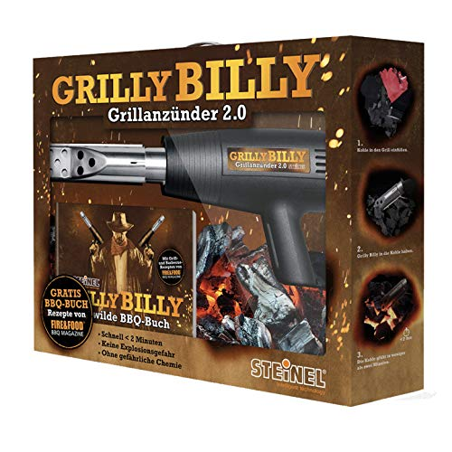Steinel Grilly Billy 2.0 mit Heißluftpistole HL 1400 S, Grillanzünder-Düse und Rezeptbuch, 1400 W Heißluftfön, 500°C, 450 l/min