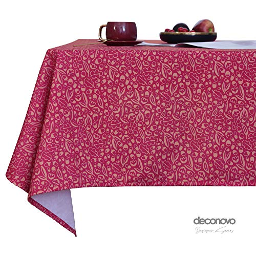 Deconovo Mantel Antimanchas Rectangular Suave Moderno para mesas Festival de Navidad para Fiesta 130 x 130 cm Rojo