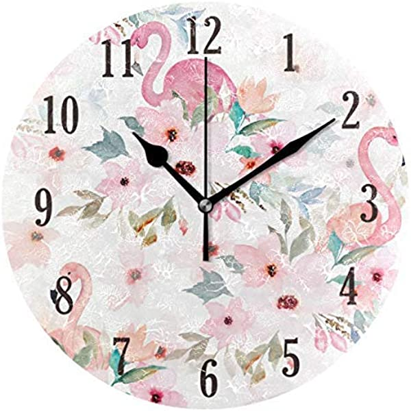 Ralally Round Wall Clock Floral With Flamingo Silent Decorative Round Wooden Clock 12 Inch