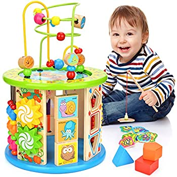 Victostar Activity Cube 10 in 1 Bead Maze Multipurpose Educational Toy Wood Shape Color Sorter for Boys Girls