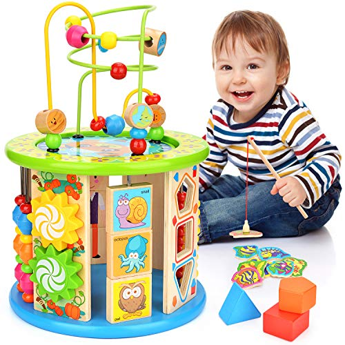 Victostar Activity Cube, 10 in 1 Bead Maze Multipurpose Educational Toy Wood Shape Color Sorter...