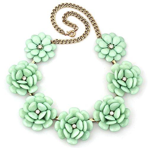 UNIQUEEN Women Vintage Green Flower Choker Chunky Statement Necklaces Bib Pendant Golden Chain