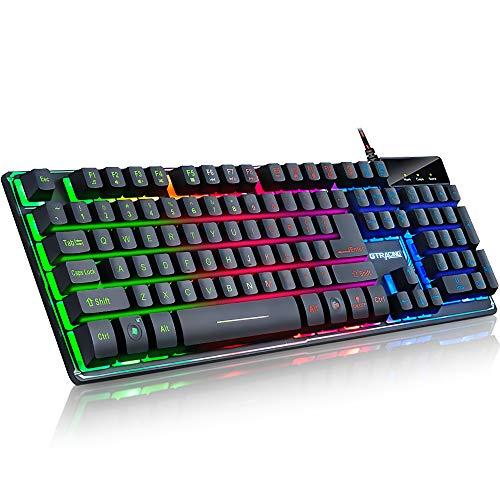 GTPLAYER Gaming Tastatur led Regenbogen beleuchtet Ganzmetallpaneel 19 Tasten Anti-Ghosting Multi-Media Bedienelemente Spritzwassergeschützt Tastatur Für PC/Laptop