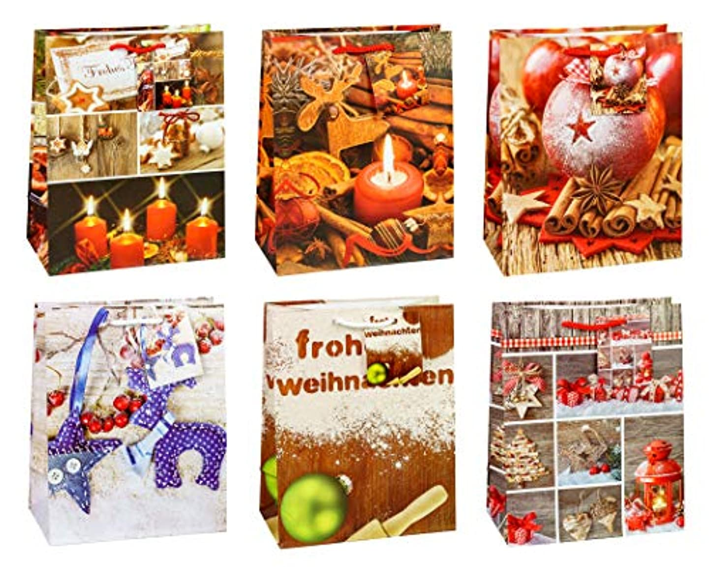 TSI 87016 Gift Bags Christmas No 6, Pack of 12, Size: Medium (9 x 7 x 4 inch)