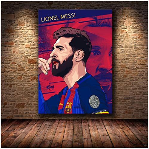 Wanghuan Fútbol Deporte Estrella Lionel Messi póster Retro Impresiones Jugador de fútbol Lienzo Pintura Sala de Estar Imagen de Arte de Pared decoración para el hogar 50x70cm A-142