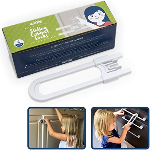 Wittle Sliding Cupboard Locks for Children - 6 Pack. Great for Baby Proofing for Both Cabinet Knobs and Cabinet Handles. U Shape Easy Slide Baby Drawer Safety Lock to Keep Your Child Safe!