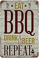 2個 BBQドリンクビールを食べるブリキサインメタルプレート装飾サイン家の装飾プラークサイン地下鉄メタルプレート8x12inch メタルプレート レトロ アメリカン ブリキ 看板
