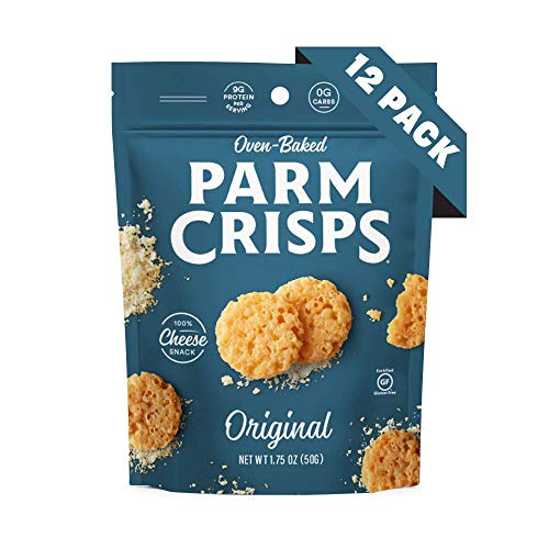 ParmCrisps Original, 1.75 Oz (Pack Of 12), Keto Snack, 100% Parmesan Cheese Crisps, Gluten Free, Sugar Free, Low Carb, High Protein