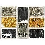 Yline Imperdibles (500 unidades, 19-28-38 mm), color negro, dorado y plateado