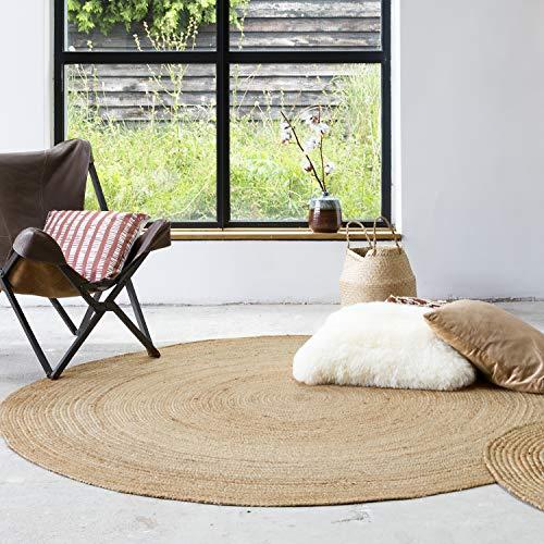 FRAAI | Home & Living Runder Jute Teppich – Fair Naturel, braun, naturfarben, moderner Teppich,...