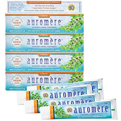 Auromere Ayurvedic Herbal Toothpaste, Classic Licorice Flavor - Vegan, Natural, Non GMO, Fluoride Free, Gluten Free, with Neem & Peelu (4.16 oz), 4 Pack