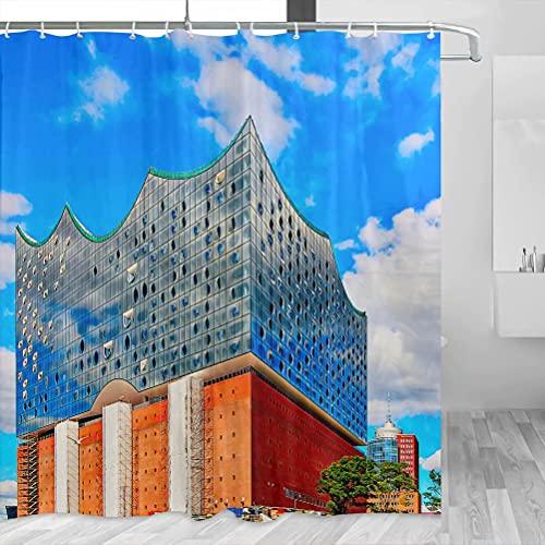 Deutschland Elbphilharmonie Hamburg Duschvorhang Reise Badezimmer Dekor Set mit Haken Polyester 183 x 183 cm (YL-02333)
