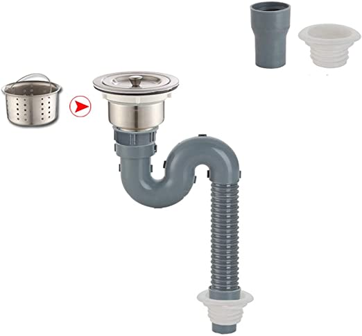 Amazon Com Hose Sink Tube Drain Pipe Sink Drain Plastic Double Head Single Head Kitchen Leaking Pipe Accessories Mumujin Size 1 5m Home Kitchen