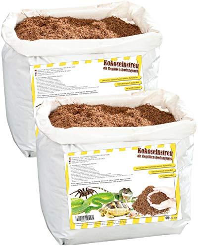 Humusziegel - 40L natürlicher Bodengrund - Loser Kokoshumus trocken - 2 x 20 L Sack