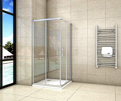 Aica Sanitär 70x70cm Duschkabine Eckeinstieg Duschabtrennung Dusche Schiebetür Duschwand 5mm Glas/190cm Höhe